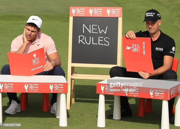 Brooks Koepka of the United States and Henrik Stenson of Sweden go back to school with HSBC to get to grip with the new rules for 2019 during a...