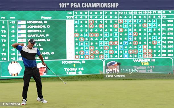 Brooks Koepka of the United States celebrates after holing his winning putt during the final round of the 2019 PGA Championship at the Bethpage Black...
