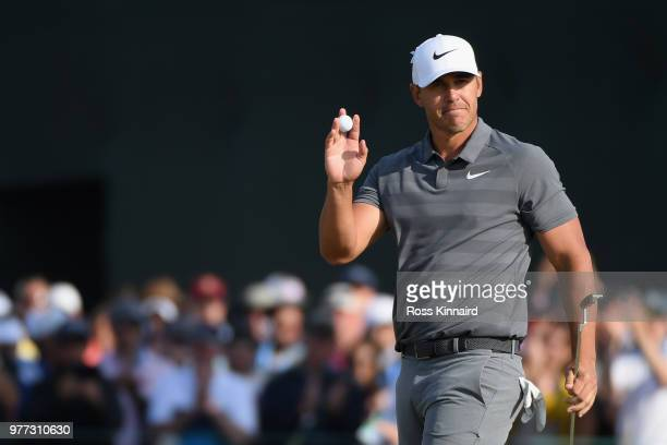 Brooks Koepka of the United States celebrates during the final round of the 2018 US Open at Shinnecock Hills Golf Club on June 17 2018 in Southampton...