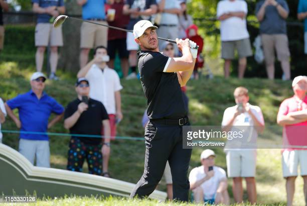Brooks Koepka of the United States drives from the 17th tee during the Final Round of the Travelers Championship on June 23 2019 at TPC River...