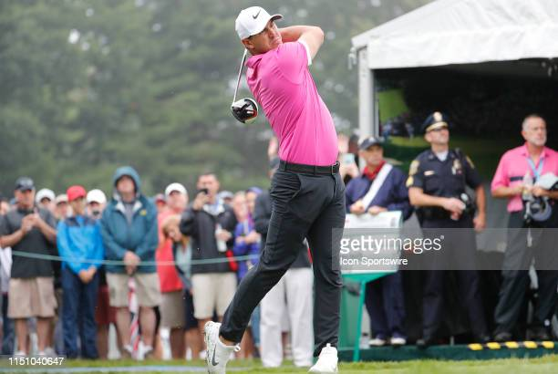 Brooks Koepka of the United States drives from the 1st tee during the First Round of the Travelers Championship on June 20 2019 at TPC River...