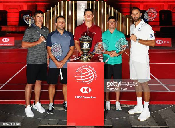 Brooks Koepka of the United States, Francesco Molinari of Italy, Justin Rose of England, Rory McIlroy of Northern Ireland and Dustin Johnson of the...
