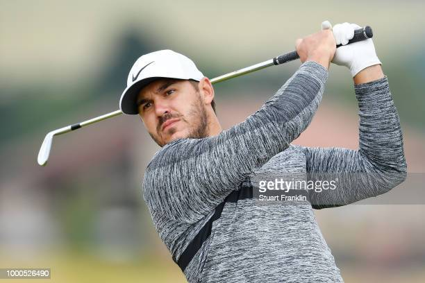 Brooks Koepka of the United States hits a shot during previews to the 147th Open Championship at Carnoustie Golf Club on July 16 2018 in Carnoustie...