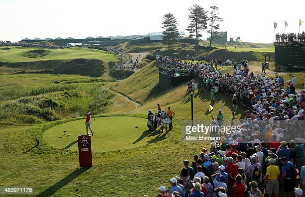 Brooks Koepka of the United States hits his tee shot on the tenth hole during the second round of the 2015 PGA Championship at Whistling Straits on...