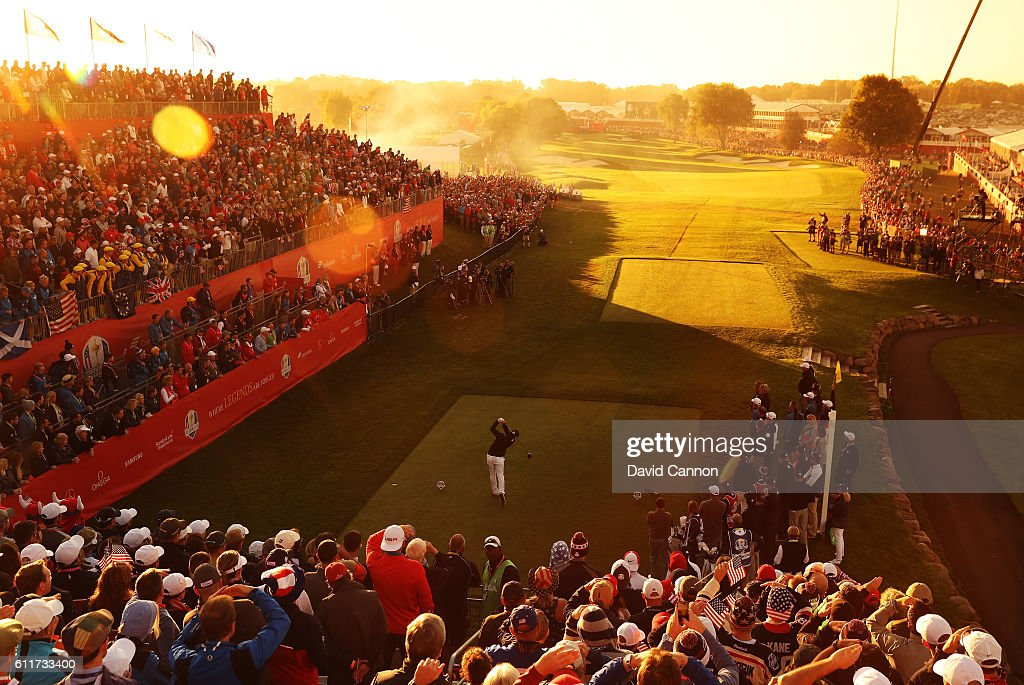 Brooks Koepka of the United States hits off the first tee during morning foursome matches of the 2016 Ryder Cup at Hazeltine National Golf Club on October 1, 2016 in Chaska, Minnesota.