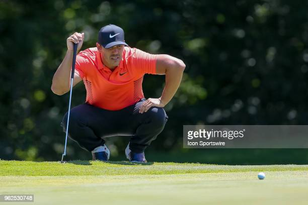 Brooks Koepka of the United States lines up his putt on during the second round of the Fort Worth Invitational on May 25 2018 at Colonial Country...