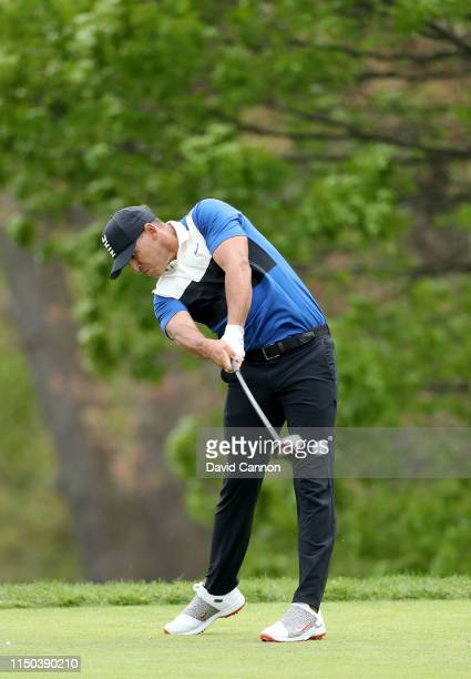 Brooks Koepka of the United States plays a driver for his tee shot on the fifth hole during the final round of the 2019 PGA Championship on the Black...