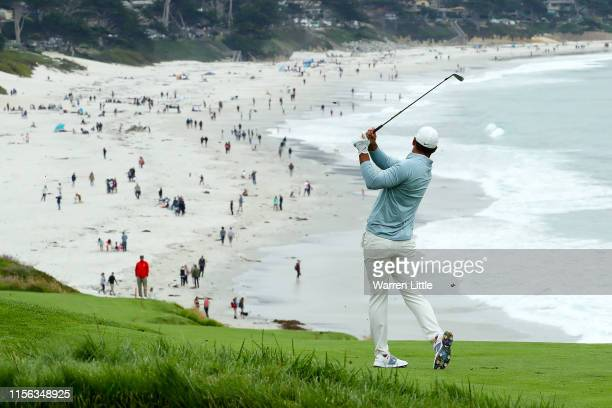 Brooks Koepka of the United States plays a second shot on the ninth hole during the final round of the 2019 U.S. Open at Pebble Beach Golf Links on...