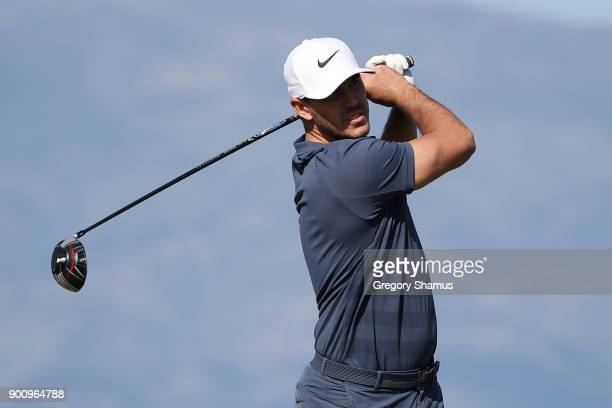 Brooks Koepka of the United States plays a shot during the proam tournament prior to the Sentry Tournament of Champions at Plantation Course at...