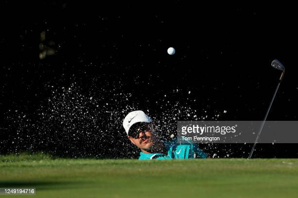 Brooks Koepka of the United States plays a shot from a bunker on the 11th hole during the second round of the Charles Schwab Challenge on June 12...