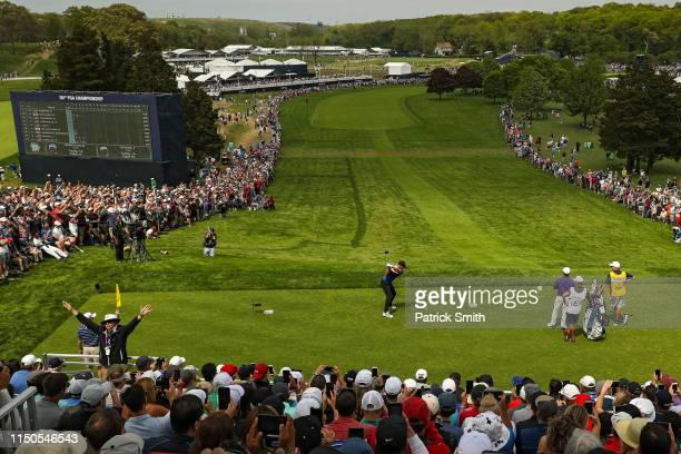 Brooks Koepka of the United States plays a shot from the first tee during the final round of the 2019 PGA Championship at the Bethpage Black course...