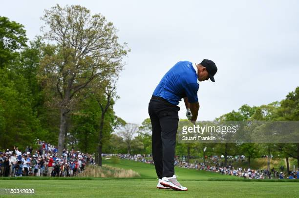 Brooks Koepka of the United States plays a shot from the second tee during the final round of the 2019 PGA Championship at the Bethpage Black course...