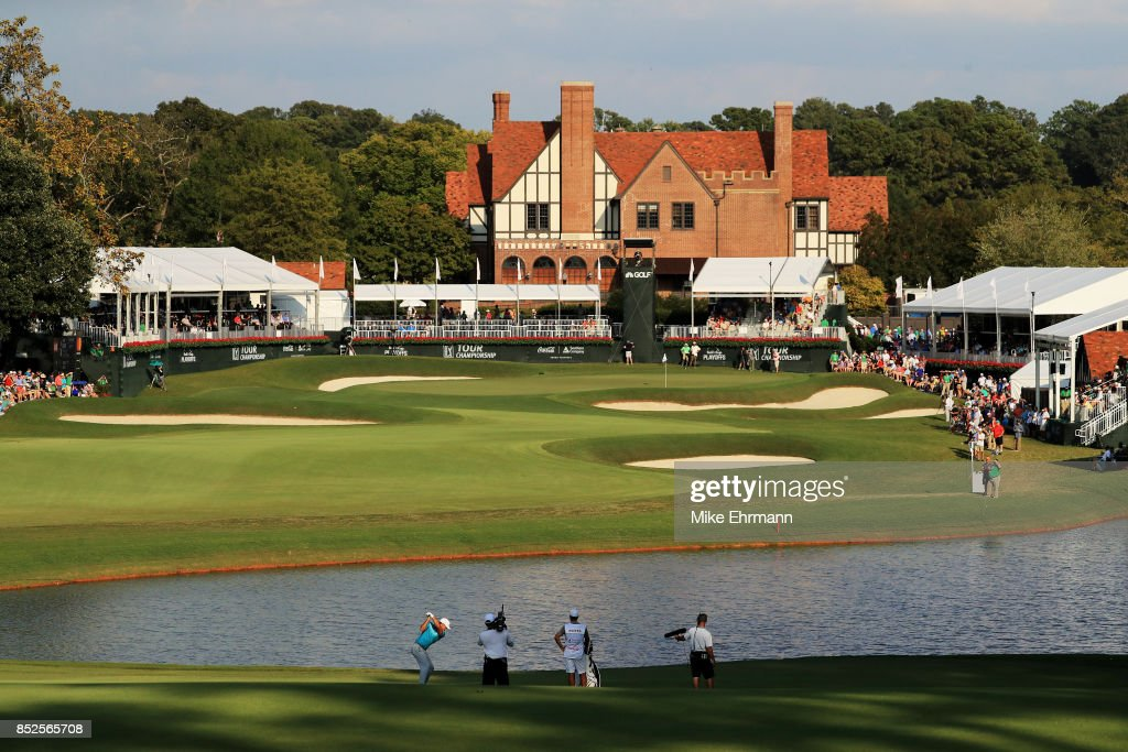 Brooks Koepka of the United States plays a shot on the 18th hole during the third round of the TOUR Championship at East Lake Golf Club on September 23, 2017 in Atlanta, Georgia.