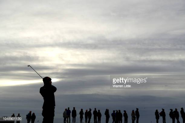 Brooks Koepka of The United States plays his second shot on the first hole during day two of the 2018 Alfred Dunhill Links Championship at Carnoustie...