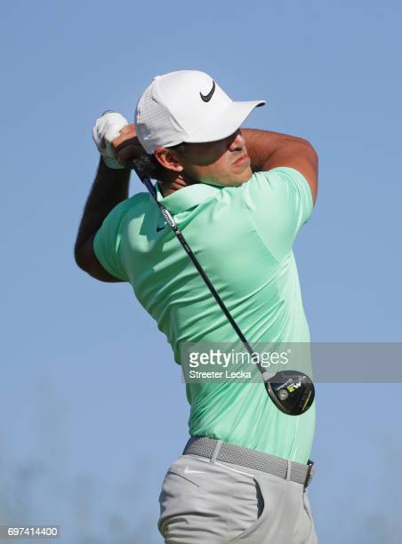 Brooks Koepka of the United States plays his shot from the 14th tee during the final round of the 2017 US Open at Erin Hills on June 18 2017 in...