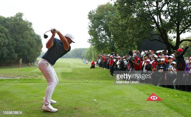 Brooks Koepka of the United States plays his shot from the 15th tee during the second round of the WGC HSBC Champions at Sheshan International Golf...