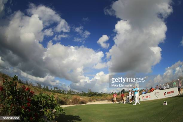 Brooks Koepka of the United States plays his shot from the 15th tee during the first round of the Hero World Challenge at Albany Bahamas on November...