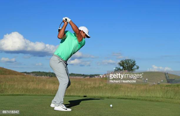Brooks Koepka of the United States plays his shot from the 17th tee during the final round of the 2017 US Open at Erin Hills on June 18 2017 in...