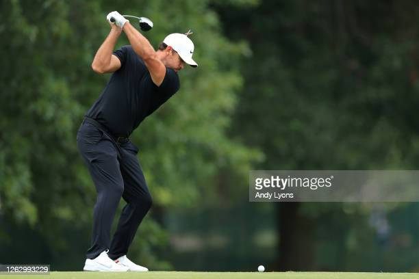 Brooks Koepka of the United States plays his shot from the 18th tee during the second round of the World Golf Championship-FedEx St Jude Invitational...