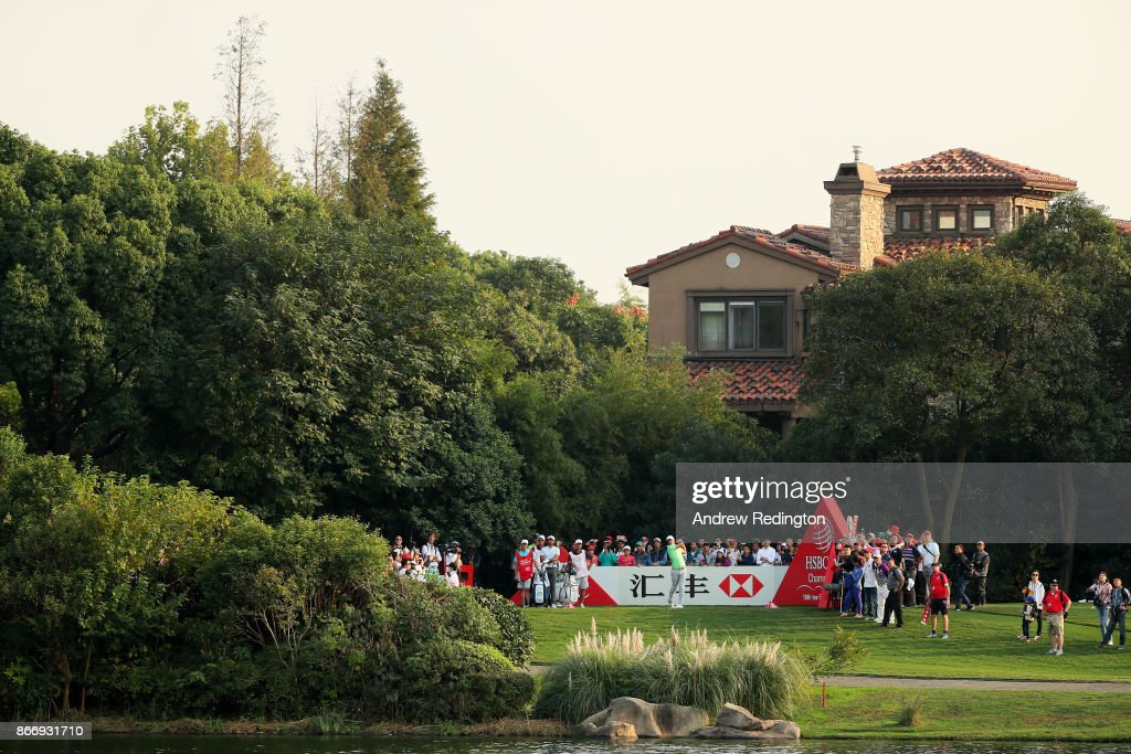 Brooks Koepka of the United States plays his shot from the 18th tee during the second round of the WGC - HSBC Champions at Sheshan International Golf Club on October 27, 2017 in Shanghai, China.
