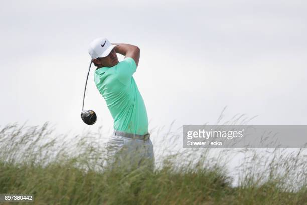 Brooks Koepka of the United States plays his shot from the fifth tee during the final round of the 2017 U.S. Open at Erin Hills on June 18, 2017 in...