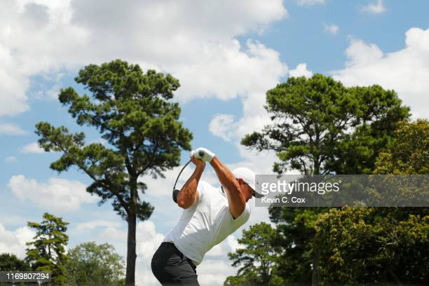Brooks Koepka of the United States plays his shot from the fourth tee during the second round of the TOUR Championship at East Lake Golf Club on...
