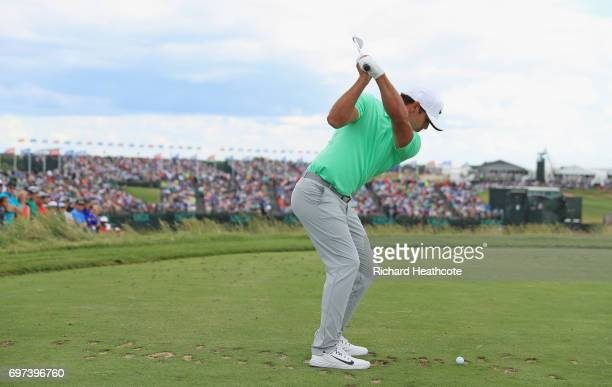 Brooks Koepka of the United States plays his shot from the ninth tee during the final round of the 2017 US Open at Erin Hills on June 18 2017 in...