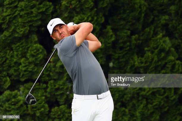 Brooks Koepka of the United States plays his shot from the ninth tee during the second round of the Travelers Championship at TPC River Highlands on...