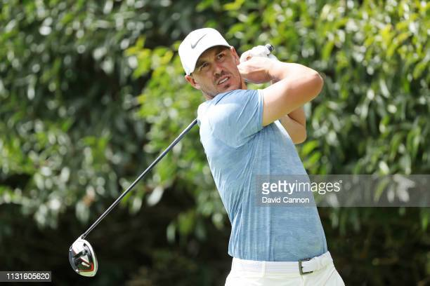 Brooks Koepka of the United States plays his shot from the second tee during the second round of World Golf ChampionshipsMexico Championship at Club...