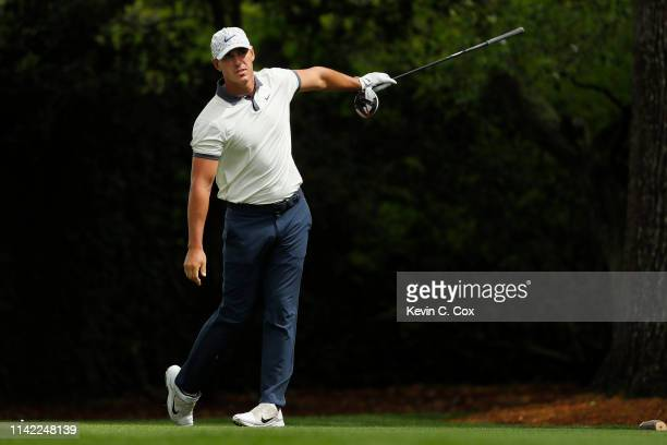 Brooks Koepka of the United States plays his shot from the second tee during the second round of the Masters at Augusta National Golf Club on April...