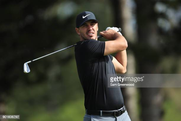 Brooks Koepka of the United States plays his shot from the second tee during the second round of the Sentry Tournament of Champions at Plantation...
