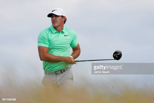 Brooks Koepka of the United States plays his shot from the tenth tee during the final round of the 2017 US Open at Erin Hills on June 18 2017 in...