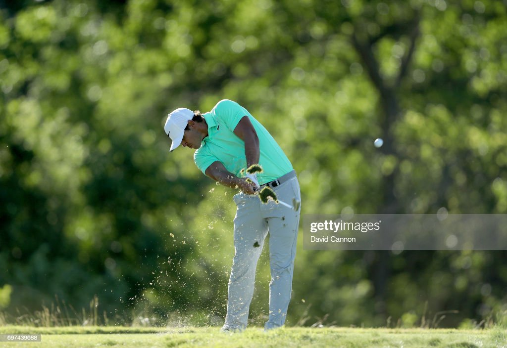 Brooks Koepka of the United States plays his tee shot at the par 3, 16th hole during the final round of the 117th US Open Championship at Erin Hills on June 18, 2017 in Hartford, Wisconsin.