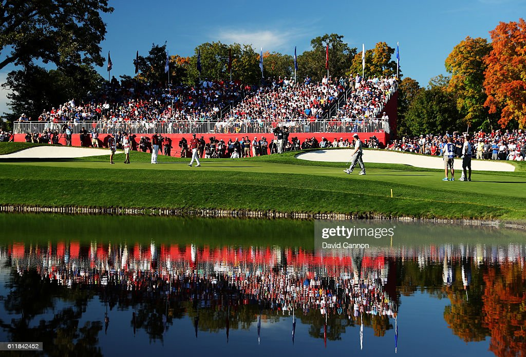 Brooks Koepka of the United States putts on the 15th green during afternoon fourball matches of the 2016 Ryder Cup at Hazeltine National Golf Club on October 1, 2016 in Chaska, Minnesota.