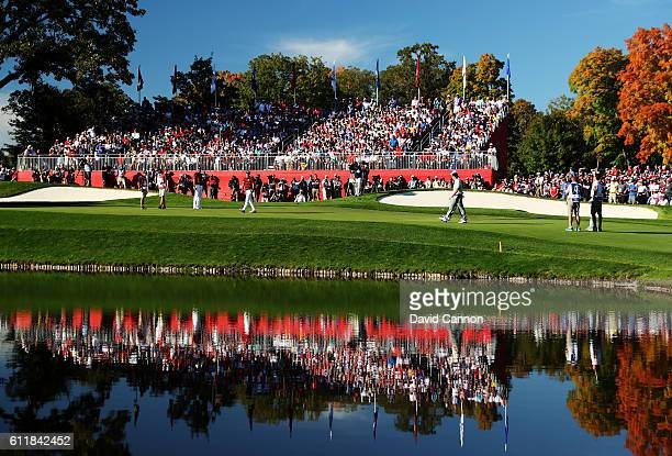 Brooks Koepka of the United States putts on the 15th green during afternoon fourball matches of the 2016 Ryder Cup at Hazeltine National Golf Club on...