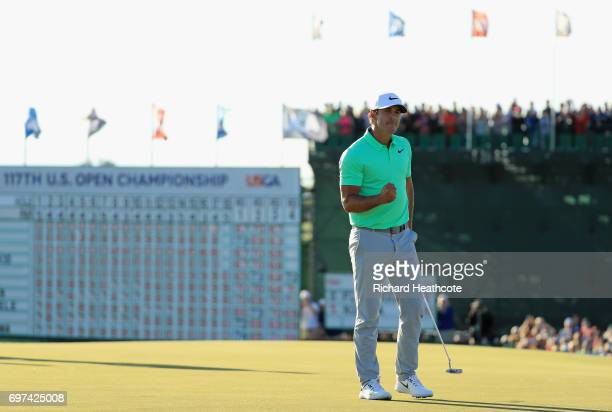 Brooks Koepka of the United States reacts after finishing on the 18th green during the final round of the 2017 US Open at Erin Hills on June 18 2017...