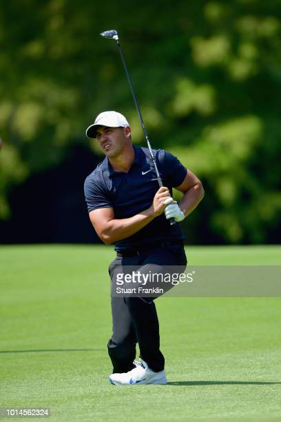 Brooks Koepka of the United States reacts on the eighth hole during the second round of the 2018 PGA Championship at Bellerive Country Club on August...