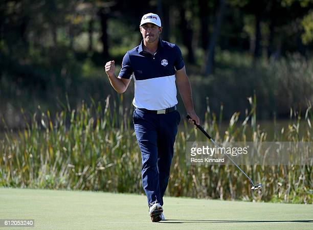 Brooks Koepka of the United States reacts to a putt on the tenth green during singles matches of the 2016 Ryder Cup at Hazeltine National Golf Club...