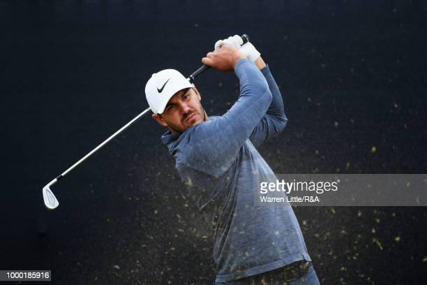 Brooks Koepka of the United States tees off during previews to the 147th Open Championship at Carnoustie Golf Club on July 16 2018 in Carnoustie...