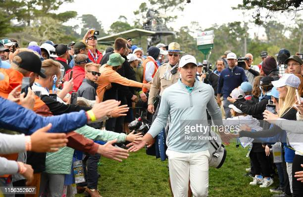 Brooks Koepka of the United States walks off the 13th green during the final round of the 2019 U.S. Open at Pebble Beach Golf Links on June 16, 2019...