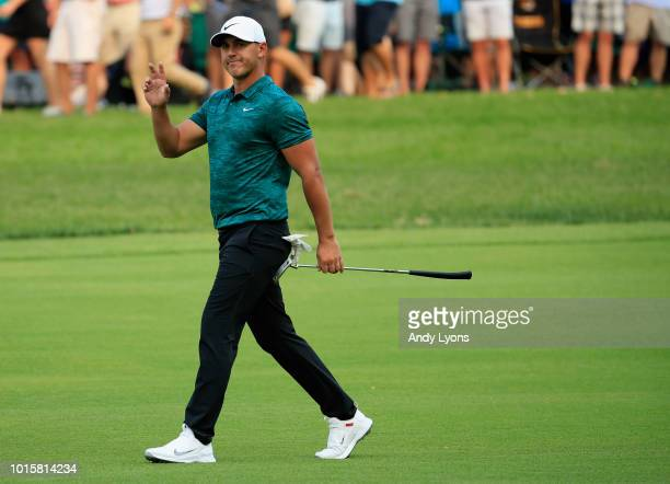 Brooks Koepka of the United States walks on the 18th hole during the final round of the 2018 PGA Championship at Bellerive Country Club on August 12...