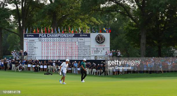 Brooks Koepka of the United States walks to the 18th green during the final round of the 2018 PGA Championship at Bellerive Country Club on August 12...