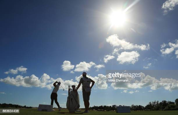 Brooks Koepka of the United States warms up on the range prior to the second round of the Hero World Challenge at Albany Bahamas on December 1 2017...