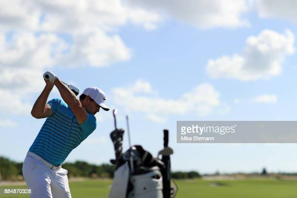 Brooks Koepka of the United States warms up on the range prior to the final round of the Hero World Challenge at Albany Bahamas on December 3 2017 in...