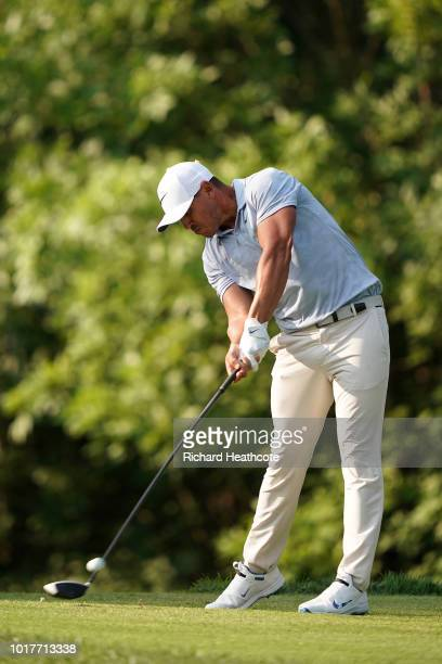 Brooks Koepka of the USA hits driver from the 17th tee during the third round of the 2018 PGA Championship at Bellerive Country Club on August 11...