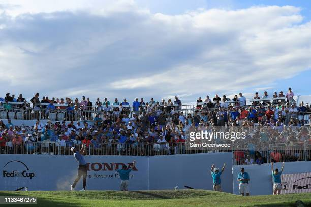 Brooks Koepka plays his shot from the 17th tee during the final round of the Honda Classic at PGA National Resort and Spa on March 03 2019 in Palm...