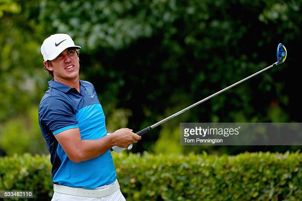 Brooks Koepka plays his shot from the first tee during the Final Round at ATT Byron Nelson on May 22 2016 in Irving Texas
