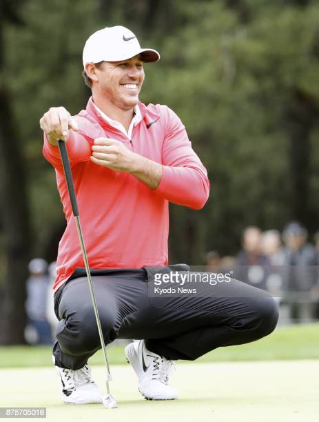 Brooks Koepka smiles on the first green during the third round of the Dunlop Phoenix on Nov 18 in Miyazaki Prefecture ==Kyodo