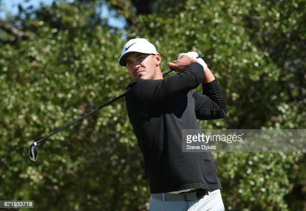 Brooks Kopeka plays his shot from the second tee during the final round of the Valero Texas Open at TPC San Antonio ATT Oaks Course on April 23 2017...