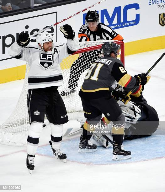 Brooks Laich of the Los Angeles Kings celebrates after scoring the game winning goal during overtime against Jonathan Marchessault and goalie Calvin...